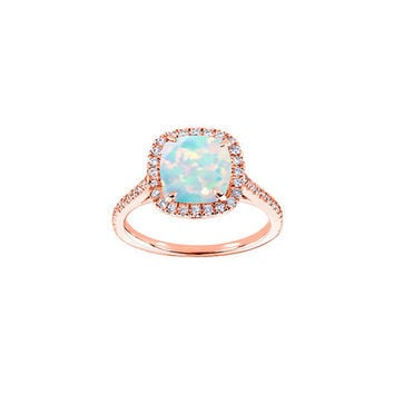 Opal & Rose Gold Cushion-Cut Ring