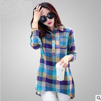 Women Autumn Style Plus Size Plaid Shirt New Fashion Collar Long Sleeve Shirt Women Casual Cotton Linen Blouses Tops