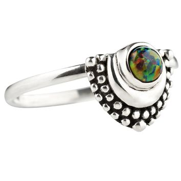 Shop Dixi Boho Ring | Oculus Crescent Black Opal Crescent Moon Ring