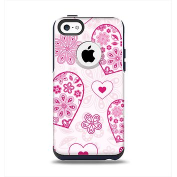 The Pink Floral Designed Hearts Apple iPhone 5c Otterbox Commuter Case Skin Set