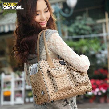 High Quality Khaki Pet Carriers Small Dog Cat Outdoor
