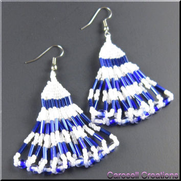 Native American Beaded Earrings Layered Serenade Beadwork in Blue and White