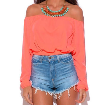 Long Sleeve Off Shoulder Crop Top in Coral