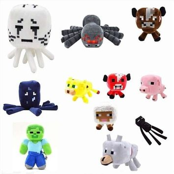 Minecraft Game Plush Toys Skeleton Ocelot Enderman Spider Green Zombie Plush Toys Doll Game Cartoon Toys Soft Children Gifts