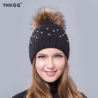 2016new white pearl cold Double warm hat hair bulb chip wool gorros Big Real Raccoon Fur Pom Pom knitting warm winter cap