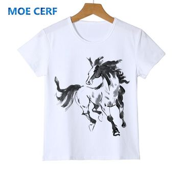 2018 Top Tees cool kid t shirt New Arrival Unicorn horse child shirt Flying Horse Boy Girl  brand Clothes Baby t-shirt Y14-18