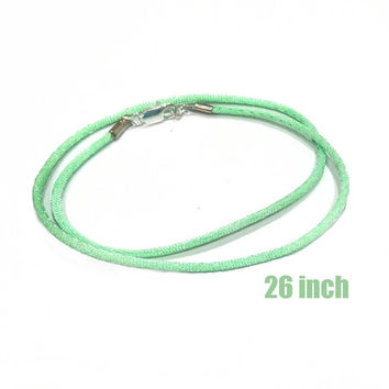 26 Inch -- Sea Foam Green Satin Necklace Cord with Silver Plated Lobster Clasp
