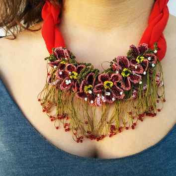 Turkish oya necklace, Crochet flower necklace, crochet gift, Colorful necklace, Spring necklace, Unique gift for her-Gift ideas