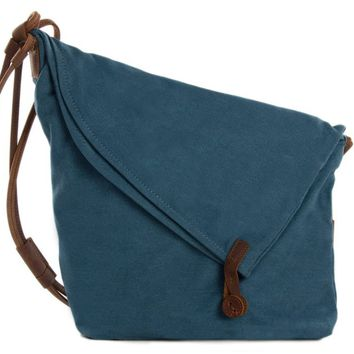BLUESEBE WOMEN WAXED CANVAS CROSSBODY MESSENGER BAG 6631-B