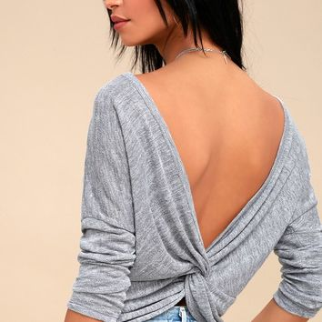Ventura Heather Grey Knotted Reversible Sweater Top