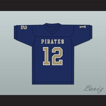 Malik Collins 12 Independence Community College Pirates Dark Blue Football Jersey