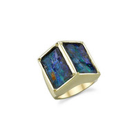 Double Boulder Opal Ring - Yellow Gold