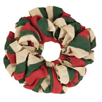 Red, Natural, and Green Burlap Wreath 15""