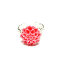 Pink Dahlia Ring Wire Wrapped Mum Ring Floral Ring Pink and Silver Custom Sized Just For You Romantic Jewelry for Her