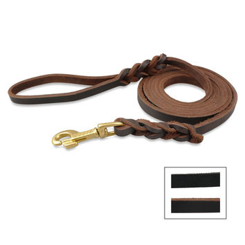 Real Leather K9  Dog Long Leash Braided Pet Walking   Training Leads Heavy Duty  Cooper Hook