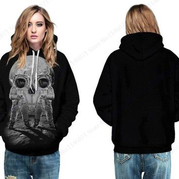 Novelty Space Skull Hoody Sweatshirt Jacket Outer Spacemen Pullover With Pocket Universe Octopus Skateboard Hoodie Womens Jacket