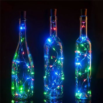 10pcs/lot 75CM 1M 2M LED Copper Wire String Light with Bottle Stopper for Glass Craft Bottle Valentines Wedding Decoration light