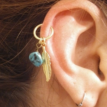 turquoise gold cartilage hoop silver from midnights mojo. Black Bedroom Furniture Sets. Home Design Ideas