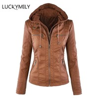 Luckymily 2018 Gothic faux leather Jacket Women hoodies Winter Autumn Motorcycle Jacket Black Outerwear faux leather PU Jacket