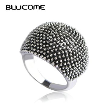 Blucome Vintage Big Round Rings For Women Lady Party Wedding Bands Anniversary Simple Retro Ring Finger Bague Homme Bijouterie