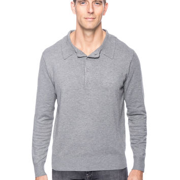 Classic Knit Long Sleeve Polo Sweater - Heather Grey