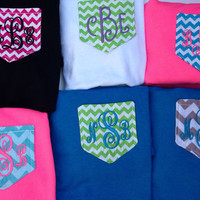Custom Monogrammed Chevron Pocket Tee by brooklynbelleboutiq