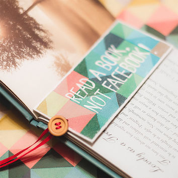 "Handmade Bookmark with your message ""Read a book, not facebook"""