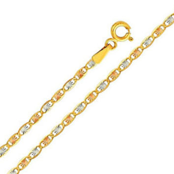 """14K Tri-Color Gold 2.1mm Valentino Diamond Cut Chain Necklace with Spring Clasp (Length: 22"""""""";  Weight: 2.9 grams approx): Necklace"""