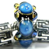 Blue Bubbles Handmade Large Hole Lampwork Slider Bracelet Charm Bead | Covergirlbeads - Jewelry on ArtFire