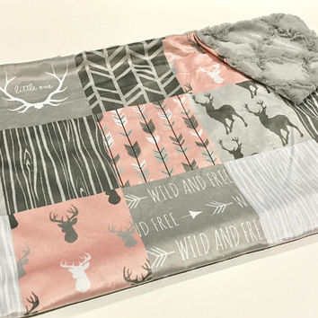 Coral Pink and Grey Deer Baby Girl Blanket. Baby MINKY Blanket, Grey Baby Bedding. Woodland Baby Blanket, Personalized Baby Girl Blanket