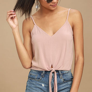 Dear Heart Blush Pink Tie-Front Crop Top