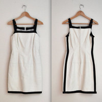 Stunning 90s Leather Dress Size Small In White and Black
