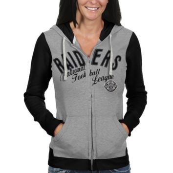 Oakland Raiders Women's Nickel Coverage Full Zip Hoodie - Gray/Black