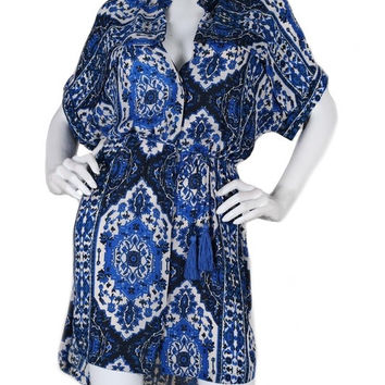 MYKONOS BAY PRINT SHIRT DRESS - BLUE + WHITE