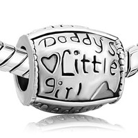 DADDYs Little GIRL - FATHeR - DAUGHTeR - Authentic - Silver Plated - Larger Size Charm Bead - EURoPEAN Bracelets - PUG-S-4003