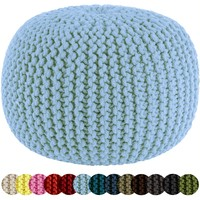 Cotton Craft - Hand Knitted Cable Style Dori Pouf - Light Blue - Floor Ottoman - 100% Cotton Braid Cord - Handmade & Hand stitched - Truly one of a kind seating - 20 Dia x 14 High