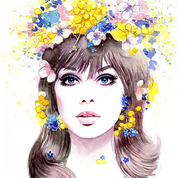 Watercolor Fashion Illustration - 60s Fashion Model Jean Shrimpton