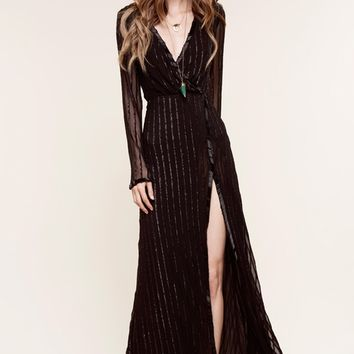 The Jetset Diaries Fiesta Wrap Maxi Dress in Black