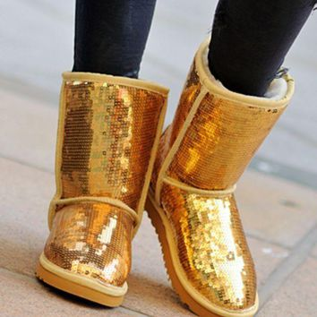 "Gotopfashion ""UGG"" Fashion Winter Warm Women Wool Snow Boots Shoes Yellow I"