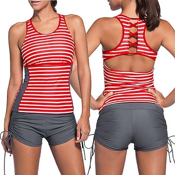 Women's Red Stripe Swimsuit w/ Grey Swimming Skirt