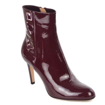 Gianvito Rossi Womens Burgundy Patent Leather Ankle Booties