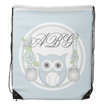 Cute Retro Owl and Roses Monogram Light Blue Cinch Bags