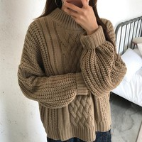 Knit Tops Plus Size Batwing Sleeve Winter Twisted Sweater [22425337882]