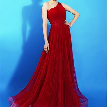 [96.99] Eye-catching Tulle One Shoulder Neckline A-line Prom Dresses With Lace Appliques - dressilyme.com