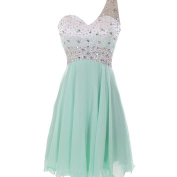 Melantha One Shoulder Bridesmaid Dresses Short Prom Dress Beadings Size 8 Mint