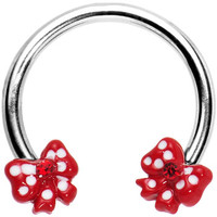 Red Gem Girly Ribbons Horseshoe Circular Barbell | Body Candy Body Jewelry