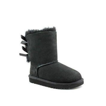 ESBHB6 UGG Australia Bailey Bow Black Suede Toddler's Boots Size 6 - 3280T  ugg snow boots