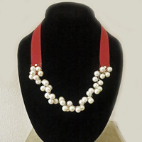 Bridesmaid Pearl Necklace / Antique Ruby Red Ribbon Bow / Queen Pink Freshwater Pearl / Beach Weddings