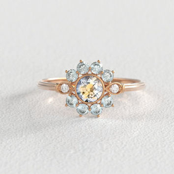 Bi-Color Blue Yellow Montana Sapphire | Vintage Diamond | Halo Engagement Ring |14k Recycled Rose Gold | Eco Engagement Ring