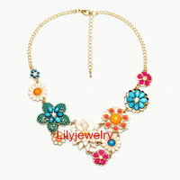 Colorful Floral Necklace Bridal Statement Necklace Flower Bib Cluster Necklace Bubble Bib Collar Necklace Wedding Necklace Prom Jewelry